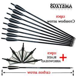 12pcs Crossbow Arrow 20/22 inch Carbon Arrow With 3-<font><b