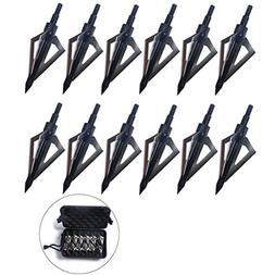 PG1ARCHERY 12 Pack 3 Fixed Blade Archery Hunting Broadheads