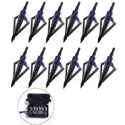 PG1ARCHERY 12 Pack 3 Fixed Blade Archery Hunting Broadheads
