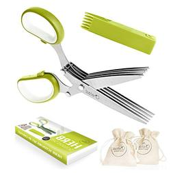 Chefast Herb Scissors Set - Multipurpose Cutting Shears with