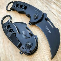 BLACK KARAMBIT SPRING POCKET KNIFE Tactical Open Folding Cla