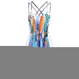 Chrikathy Women Casual Camis Strap Mini Dress Print Feather
