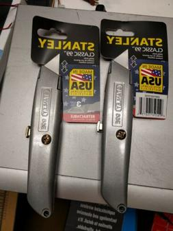 STANLEY 2 PACK CLASSIC 99 RETRACTABLE UTILITY KNIFE TOOL & 6
