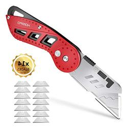Folding Pocket Box Cutter, HOMPO Heavy Duty with Holster, Qu