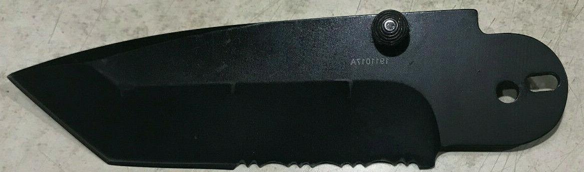 06 folding knife tanto black stainless steel