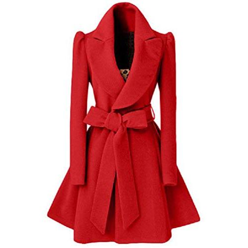 Trench Women Female red Coat Sashes Outerwear