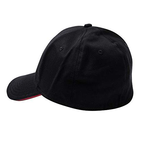 Kershaw Black with Red Logo; Structured Twill; 6-Panel with Top-Stitching Cap; Seven Stitching Bill;