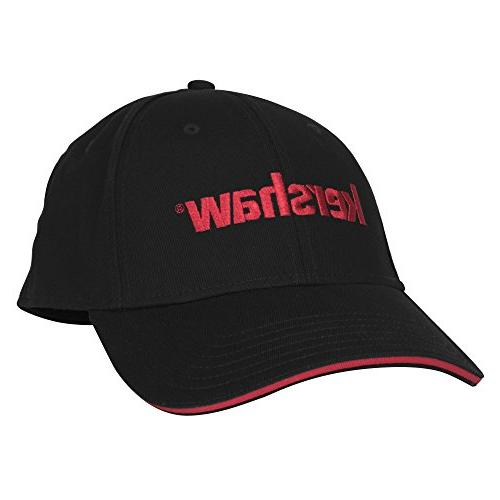 black ball cap with red tipped bill