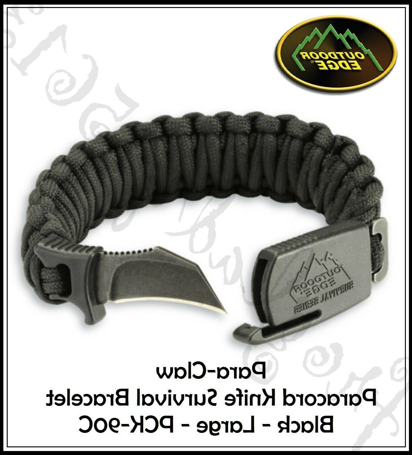 NEW Outdoor Edge Large Black Para-Claw Paracord Knife Bracel