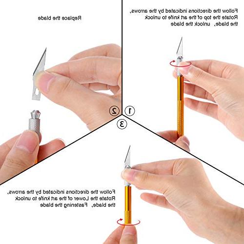 BBTO Craft Knife Knife with 40 Stainless Steel Blades Carving Scrapbooking Creation