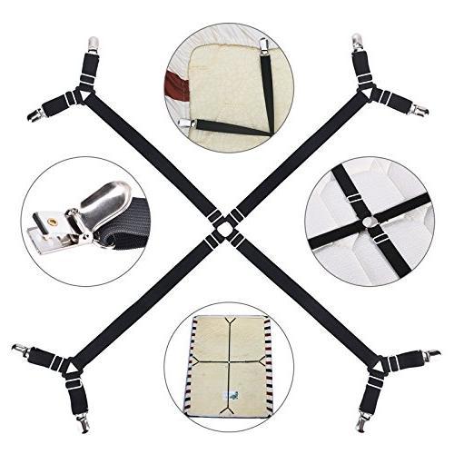 EEEKit Crisscross Fitted Sheet Suspenders Gripper Fastener Kit