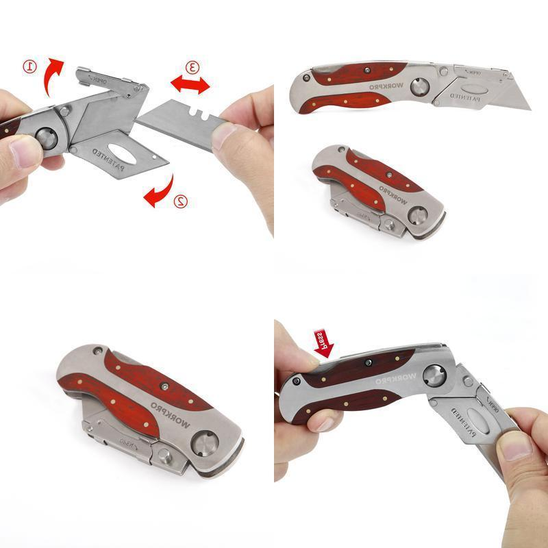 Box Cutter Utility Folding Razor Hook Pocket Handle