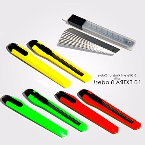 Fixson Utility Knife Razor Knifes With Snap-Blade and Slide 10 Replacement Blades Included.
