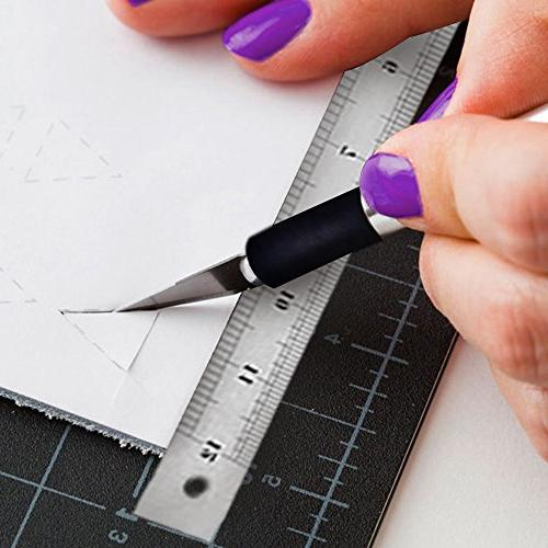 Cutting with Craft Knife Ruler Set - Healing Sided Mat Precision with Replacement Blades and Steel