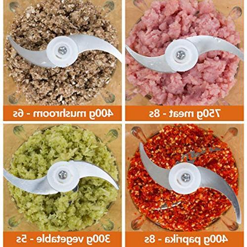 Electric Food Food Processor 2L BPA-Free Blender Grinder Meat, Vegetables, Fast 2-Speed, 4