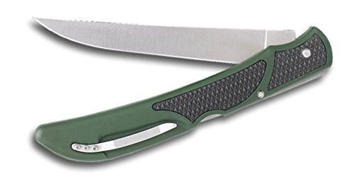 Outdoor Edge Bone, Fish Fillet & Game Folding 5 Inch Fillet Green/Black Black Nylon Sheath