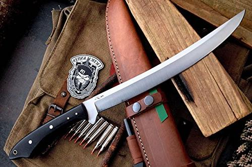 "CFK Cutlery Company IPAK USA Custom 17"" I MACHETE Bushcraft Knife with Leather & Starter CFK55"