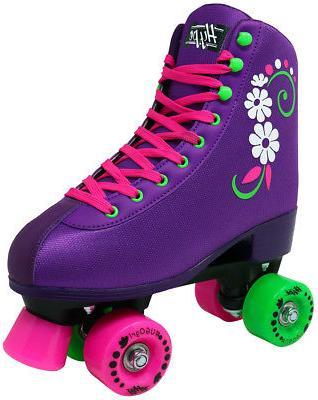 uGOgrl Roller Girls - Quad Kids Skate Stylish Flowers