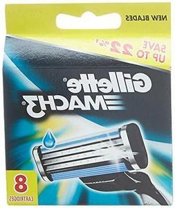Gillette Mach3 Refill Cartridge Razor Blades for Mach 3, 8 C