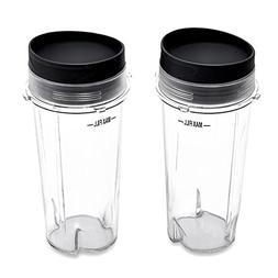 2 Cups with 2 Sip Lids for Nutri Ninja BL770 BL780 BL660 Pro