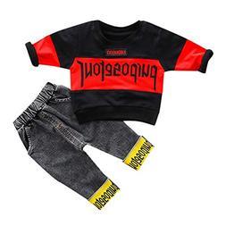 NUWFOR Toddler Kids Baby Boys Streetwear Tee Tops Jeans Pant