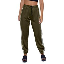 Spbamboo Fashion Womens Casual Bandage Stripe Trousers Elast